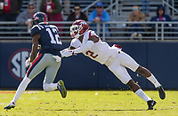 Hawgs Illustrated/BEN GOFF <br /> Kamren Curl (2), Arkansas defensive back, tries to latch on to Van Jefferson, Ole Miss slot receiver, in the third quarter Saturday, Oct. 28, 2017, at Vaught-Hemingway Stadium in Oxford, Miss.