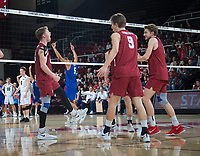 STANFORD, CA - March 2, 2019: Jordan Ewert, Stephen Moye, Paul Bischoff at Maples Pavilion. The Stanford Cardinal defeated BYU 25-20, 25-20, 22-25, 25-21.