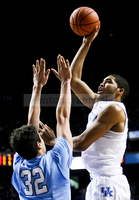 December 10, 2014- Kentucky freshman Karl-Anthony Towns shoots over the Columbia defense during the first half of the UK men's basketball game vs. Columbia at Rupp Arena. Photo by Jonathan Krueger | Staff