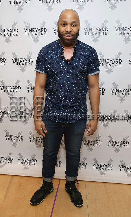 """Ugo Chukwu attends the photo call for the Vineyard Theatre production of """"Do You Feel Anger?"""" at the Vineyard Theater Rehearsal studio Theatre on February 14, 2019 in New York City."""