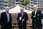 (L-R) Rob Gill, ex president of Kowloon Cricket Club, Rodney Miles, president of Hong Kong Cricket Association and David Brettell, president of Kowloon Cricket Club during the Hong Kong T20 Blitz match between Kowloon Cantons and HKI United at Tin Kwong Road Recreation Ground on March 11, 2017 in Hong Kong, Hong Kong. Photo by Marcio Rodrigo Machado / Power sport Images