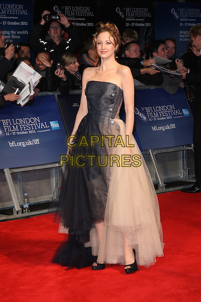 Andrea Riseborough.'W.E.' UK film premiere, 55th BFI London Film Festival, Empire cinema, Leicester Square, London, England..23rd October 2011.LFF full length black blue nude pink beige strapless dress gown tulle chiffon.CAP/ROS.©Steve Ross/Capital Pictures.