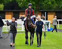 Winner of Peter Symonds Catering Handicap (Class 5),  Field of Vision ridden by Oisin Murphy and trained by Joeseph Tuite is led into the winners enclosure during Afternoon Racing at Salisbury Racecourse on 7th August 2017