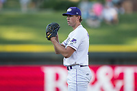 Winston-Salem Dash starting pitcher Alec Hansen (13) looks to his catcher for the sign against the Potomac Nationals at BB&T Ballpark on August 5, 2017 in Winston-Salem, North Carolina.  The Dash defeated the Nationals 6-0.  (Brian Westerholt/Four Seam Images)