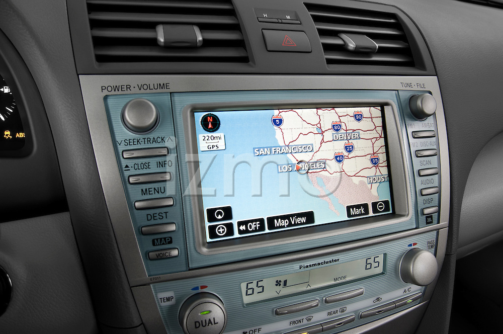 Stereo audio system close up detail view of 2009 Toyota Camry Hybrid Stock Photo