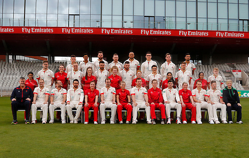 08.04.2016. Old Trafford, Manchester, England. Lancashire County Cricket Press Call. Combined mens 1st XI and women's team group for the 2016 season.