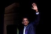 United States President Barack Obama waves after delivering remarks at a Democratic National Committee Gen44 fundraising event at DAR Constitution Hall in Washington, D.C., U.S., on Thursday, September 30, 2010. .Credit: Brendan Hoffman - Pool via CNP