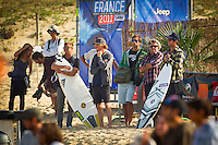 "LA GRAVIERE, Hossegor/France (Wednesday, October 5, 2011) Taj Burrow (AUS) and Johnny Gannon (AUS). - For the first time this season, the complete ASP Top 34, are in attendance for Event No. 8 of 11, the Quiksilver Pro France, which will commenced with Round 1 this morning at 9am...With a number of surfers sidelined with various injuries in the opening seven events of this season, France will host the first full incarnation of the ASP Top 34 this year, and they enjoyed clean three-to-four foot (1.5 metre) waves on offer at the primary site of La Graviere this morning and throughout the day...""Waves have increased significantly today and we have rippable three-to-four foot (1.5 metre) waves pulsing through at Graviere this morning,"" Rich Porta, ASP International Head Judge said. ""Round 1 of competition will kick off at 9am and we intend to push right through the midday high tide. We'll continue to monitor conditions throughout the day, but Round 2 is on standby for a possible start this afternoon."".Three heats of Round Two were completed with the big upset of the day , the loss of Joel Parkinson to wildcard Ramzi Boukhiam for Morroco.. Photo: joliphotos.com"