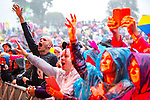 © Joel Goodman - 07973 332324. 06/08/2017 . Macclesfield , UK . Fans in the rain as Belinda Carlisle performs at The Rewind Festival , celebrating 1980s music and culture , at Capesthorne Hall in Siddington . Photo credit : Joel Goodman