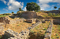Walls and remains of buildings of Troy, from Troia VI-Late/VIIa citadel  & Troia IX period 14th/13th cent. B.C. Troy archaeological site, A UNESCO World Heritage Site, Turkey