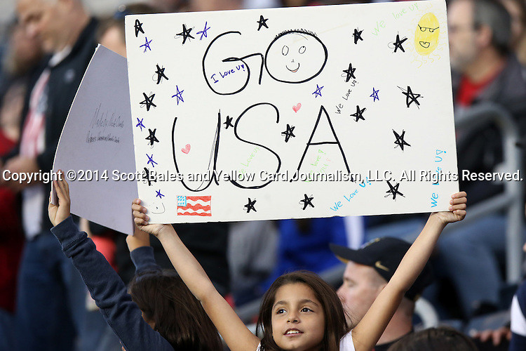 26 October 2014: U.S. fan. The United States Women's National Team played the Costa Rica Women's National Team at PPL Park in Chester, Pennsylvania in the 2014 CONCACAF Women's Championship championship game. By advancing to the final, both teams have qualified for next year's Women's World Cup in Canada. The United States won the game 6-0.