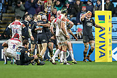 2nd December 2017, Rioch Arena, Coventry, England; Aviva Premiership rugby, Wasps versus Leicester; Kearnan Myall of Wasps raises his arm to celebrate scoring the winning try in the final minute of the game