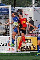 Rochester, NY - Friday May 27, 2016: Western New York Flash defender Abby Erceg (6)  goes up for a header with Boston Breakers defender Julie King (8) during a regular season National Women's Soccer League (NWSL) match at Sahlen's Stadium.
