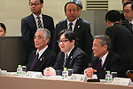 (L-R) Tsuyoshi Aoki, Yasushi Akimoto, Yutaka Aso, March 26, 2014 : a conference held by directors of Tokyo Organizing Committee of the Olympic and Paralympic Games <br /> in Tokyo, Japan. (Photo by Yohei Osada/AFLO SPORT)