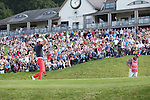 Frenchman Gregory Bourdy punches the air to celebrate as his birdie putt on the 18th goes in to win the ISPS Handa Wales Open 2013 at the Celtic Manor Resort.<br /> <br /> 01.09.13<br /> <br /> &copy;Steve Pope-Sportingwales