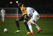 5th February 2019, Rodney Parade, Newport, Wales; FA Cup football, 4th round replay, Newport County versus Middlesbrough; Jamille Matt of Newport County controls the ball under pressure from Aden Flint of Middlesbrough