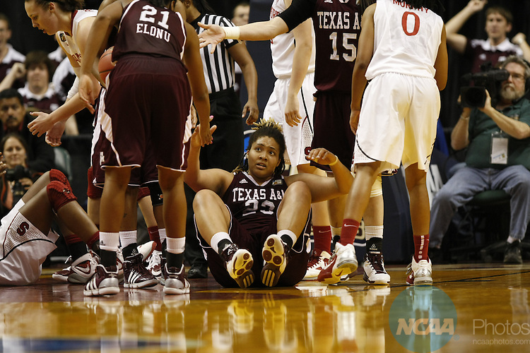 03 APR 2011:  Stanford University takes on Texas A&M University during the Division I Women's Basketball Semifinals held at Conseco Fieldhouse in Indianapolis, IN.  Jamie Schwaberow/NCAA Photos