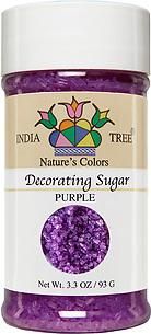 10256 Nature's Colors natural Purple Decorating Sugar, Small Jar 3.3 oz, India Tree Storefront