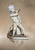 Roman statue of a Boy strangling a goose, a Roman copy of a late 3rd century Hellenistic bronze statue attributed to Boethos. Excavated from the Villa dei Quintilli on the Appian Way, inv 2655, Vatican Museum Rome, Italy,  art background