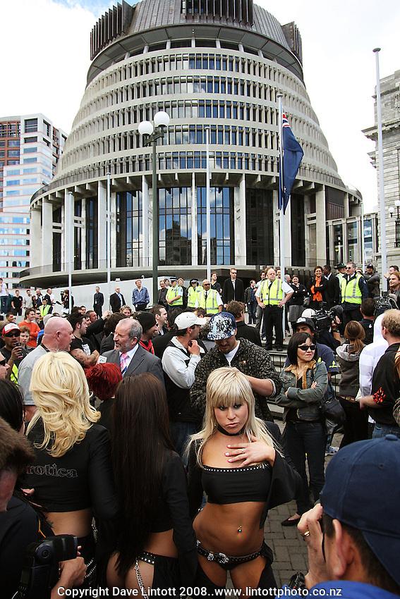 Steve Crow's parade is brought to the Richard Seddon statue on Parliament Grounds. Boobs on Bikes parade, Wellington CBD, Wellington, New Zealand. 7 November 2008. Photo: Dave Lintott / lintottphoto.co.nz