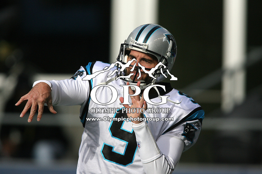 December 05, 2010:   Carolina Panthers quarterback #9 Keith Null warms up before the game against the Seattle Seahawks. Seattle won 31-14 over Carolina at Quest Field in Seattle, WA.