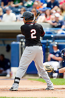 Terrell Joyce (2) of the Quad Cities River Bandits at bat against the West Michigan Whitecaps at Fifth Third Ballpark on May 5, 2013 in Comstock Park, Michigan.  The River Bandits defeated the Whitecaps 5-4.  (Brian Westerholt/Four Seam Images)