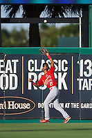 Palm Beach Cardinals center fielder Oscar Mercado (21) catches a fly ball during a game against the Jupiter Hammerheads on August 13, 2016 at Roger Dean Stadium in Jupiter, Florida.  Jupiter defeated Palm Beach 6-2.  (Mike Janes/Four Seam Images)