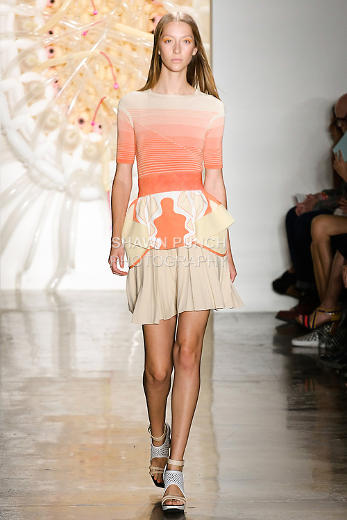 Alana walks runway in an outfit from the Ohne Titel Spring Summer 2013 collection by Alexa Adams and Flora Gill, during Milk Made Fashion Week Spring 2013 in New York City.