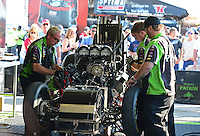 Sept. 23, 2012; Ennis, TX, USA: NHRA crew members work on the car of funny car driver Alexis DeJoria during the Fall Nationals at the Texas Motorplex. Mandatory Credit: Mark J. Rebilas-