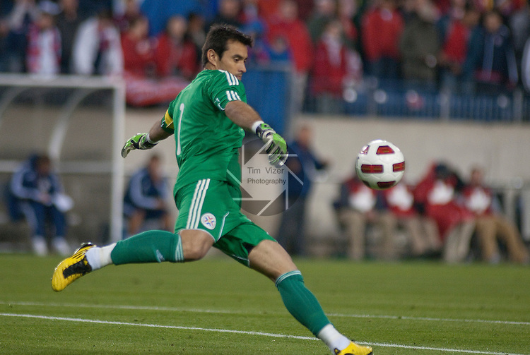 March 29,  2011     Paraguay goalkeeper and team captain Justo Vilar (1) hits a goal kick in the second half after making a save.  Paraguay defeated the USA Men's National Soccer Team 1-0 in an international friendly game on Tuesday March 29, 2011 at LP Field in Nashville, Tennessee.