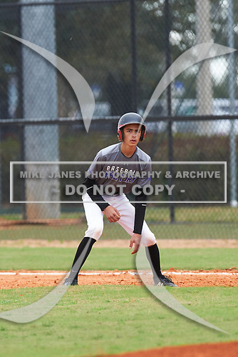 Stefano Molaro (3) Fort Lauderdale, Florida during the Baseball Factory All-America Pre-Season Rookie Tournament, powered by Under Armour, on January 13, 2018 at Lake Myrtle Sports Complex in Auburndale, Florida.  (Michael Johnson/Four Seam Images)