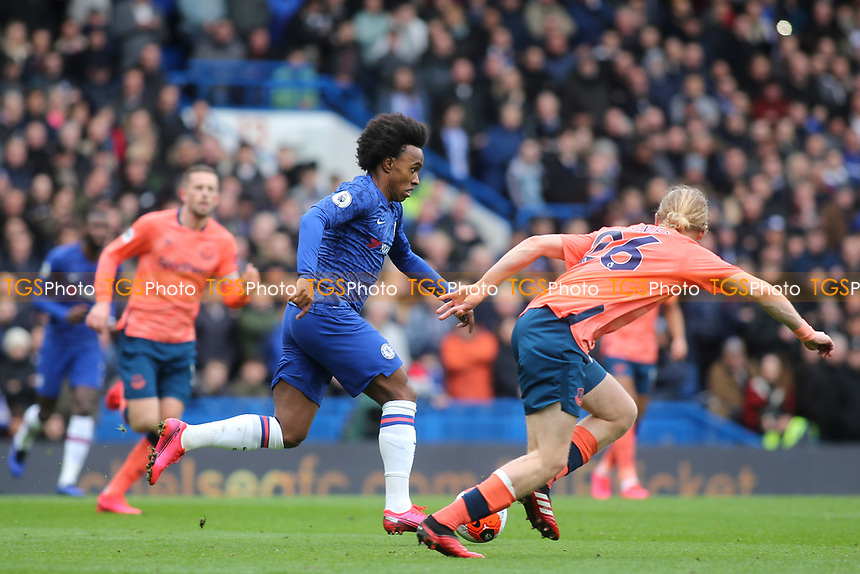 Willian of Chelsea races upfield during Chelsea vs Everton, Premier League Football at Stamford Bridge on 8th March 2020