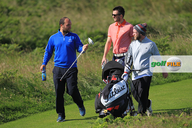Jordan Hood (Galgorm Castle) walking to the 3rd green during Round 3 of Matchplay in the North of Ireland Amateur Open Championship at Portrush Golf Club, Portrush on Thursday 14th July 2016.<br /> Picture:  Thos Caffrey / www.golffile.ie