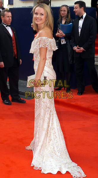 AMANDA HOLDEN.BAFTA Television Awards .red carpet, white dress, ruffles, full length, full-length.www.capitalpictures.com.sales@capitalpictures.com.© Capital Pictures