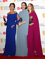 Fiona Shaw, Phoebe Waller-Bridge and Jodie Comer at the Virgin Media BAFTA Television Awards 2019 - Press Room at The Royal Festival Hall, London on May 12th 2019<br /> CAP/ROS<br /> ©ROS/Capital Pictures