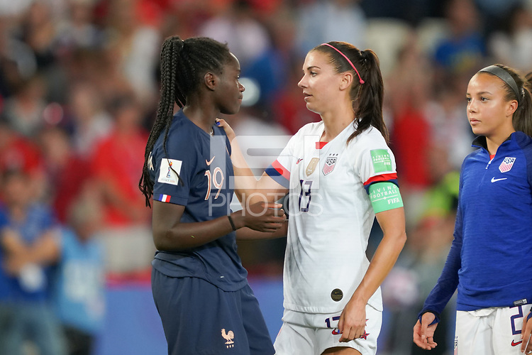 PARIS, FRANCE - JUNE 28: Griedge Mbock Bathy #19, Alex Morgan #13 during a 2019 FIFA Women's World Cup France quarter-final match between France and the United States at Parc des Princes on June 28, 2019 in Paris, France.