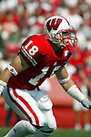 Madison, Wisconsin - 9/6/2003.  University of Wisconsin defensive back Jim Leonhard (18) during the Akron game at Camp Randall. Wisconsin beat Akron 48-31. (Photo by David Stluka).