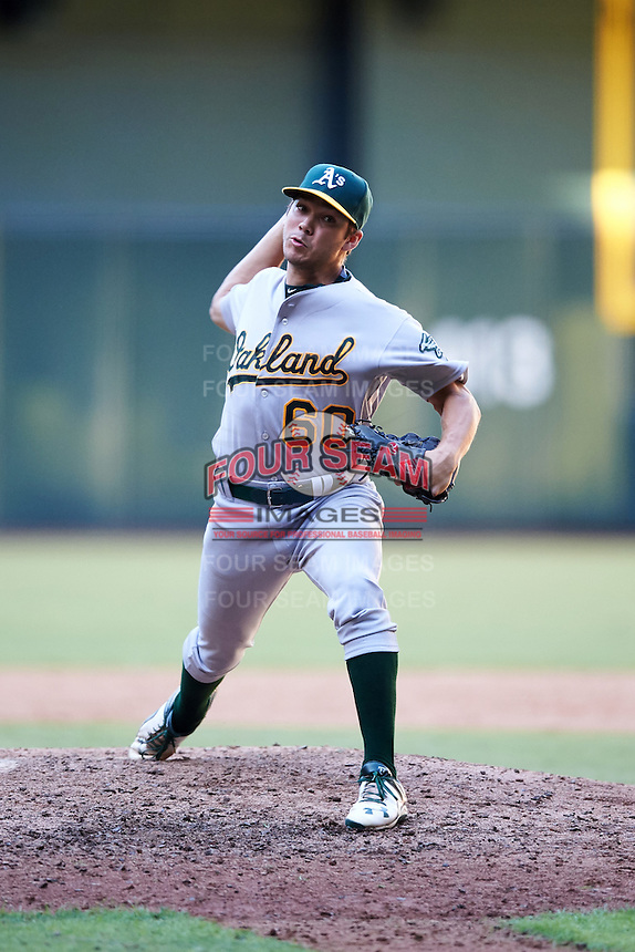 Oakland Athletics pitcher Nick Highberger (60) during an Instructional League game against the Arizona Diamondbacks on October 15, 2016 at Chase Field in Phoenix, Arizona.  (Mike Janes/Four Seam Images)