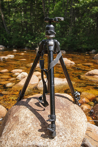 Pemigewasset Wilderness - Tripod on rocks along the North Fork East Branch Pemigewasset River in Lincoln, New Hampshire USA.