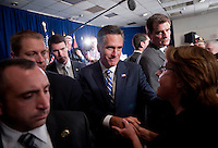 UNITED STATES - SEPTEMBER 27: Republican Presidential candidate Mitt Romney campaigns at the American Legion Post 176 in Springfield, Va. Romney criticized proposed defense cuts and called for better employment options for veterans. (Photo by Chris Maddaloni/CQ Roll Call)