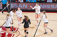 STANFORD, CA -- September 29, 2017. <br /> The Stanford Cardinal defeats the Arizona State Sun Devils 3-0 at Maples Pavilion.
