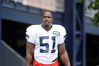 August 1, 2018: New England Patriots running back Sony Michel (51) heads to practice at the New England Patriots training camp held on the practice fields at Gillette Stadium, in Foxborough, Massachusetts. Eric Canha/CSM
