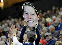 Virginia fans hold up a Virginia guard Lexie Gerson (14) picture during the game against Clemson Sunday in Charlottesville, VA. Photo/The Daily Progress/Andrew Shurtleff
