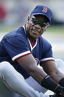 Rickey Henderson of the Boston Red Sox before a 2002 MLB season game against the Los Angeles Angels at Angel Stadium, in Anaheim, California. (Larry Goren/Four Seam Images)
