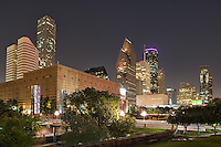 Houston Theater District at Night - Houston is a very active city with over 2 million people and when it comes to arts and theater they are very active so we took this photo of the skyline of downtown Houston from the Theater District which is comprised of nine performing art organization that are located along the Buffalo Bayou.  Some of the performing arts in the district include the Alley Theater, the Hobby Center for Performing Arts, Jones Music Hall and Wortham center to name a few.
