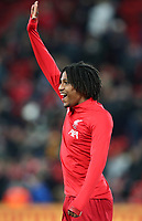 30th October 2019; Anfield, Liverpool, Merseyside, England; English Football League Cup, Carabao Cup, Liverpool versus Arsenal; substitute Yasser Larouci of Liverpool smiles and waves to fans during the pre match warm up - Strictly Editorial Use Only. No use with unauthorized audio, video, data, fixture lists, club/league logos or 'live' services. Online in-match use limited to 120 images, no video emulation. No use in betting, games or single club/league/player publications