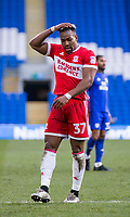 Adama Traore of Middlesbrough rues a miss during the Sky Bet Championship match between Cardiff City and Middlesbrough at the Cardiff City Stadium, Cardiff, Wales on 17 February 2018. Photo by Mark Hawkins / PRiME Media Images.