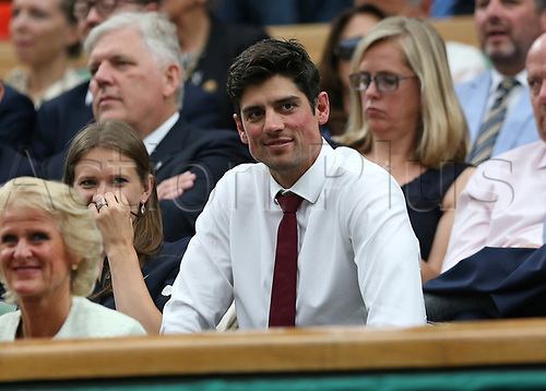 July 11th 2017, All England Lawn Tennis and Croquet Club, London, England; The Wimbledon Tennis Championships, Day 8; Former England cricket captain Alastair Cook in the royal box watching Konta (GBR) versus Simona Halep (ROU)