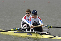 Seville. SPAIN; 17.02.2007; GBR M2-, Bow Matt LANDGRIDGE and Steve WILLIAMS, row up to the start area to compete in  Saturdays finals of the FISA Team Cup; held on the River Guadalquiver course. [Photo Peter Spurrier/Intersport Images]   [Mandatory Credit, Peter Spurier/ Intersport Images]. , Rowing Course: Rio Guadalquiver Rowing Course, Seville, SPAIN,