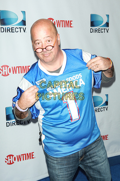 NEW YORK, NY - FEBRUARY 1: Andrew Zimmern attends the DirecTV Beach Bowl at Pier 40 on February 1, 2014 in New York City. <br /> CAP/MPI/COR<br /> &copy;Corredor99/ MediaPunch/Capital Pictures